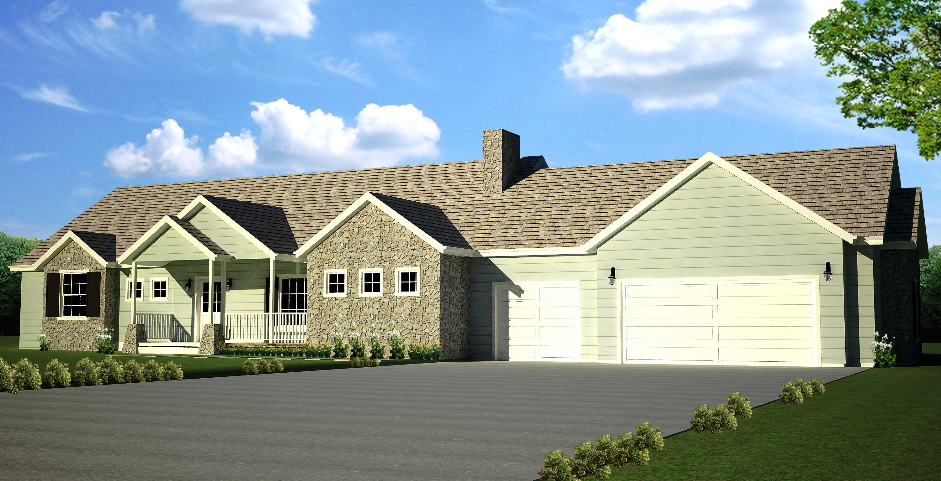square feet of 3 car garage 2000 sq ft main 4 bedroom 3